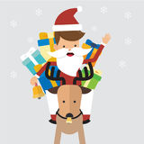 Happy Christmas Santa Claus with Reindeer and Gifts. Concept Merry Christmas Vector Illustration Flat Style. Royalty Free Stock Images