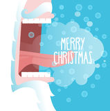 Happy Christmas. Santa Claus shouts. Snowflakes fly and fall int Royalty Free Stock Images