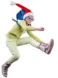 Happy Christmas Santa girl or traveler running, jumping and hurrying up Stock Image
