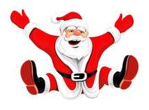 Happy Christmas Santa jumping Stock Photography