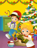 The happy christmas scene with brothers taking presents. Happy and funny traditional illustration for children - scene for different usage Royalty Free Stock Photo