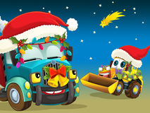The happy christmas scene - illustration for the children Stock Photo