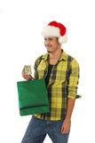 Happy Christmas Shopper Stock Photography
