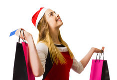 Happy christmas shopping girl Stock Photos