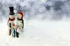 Happy Christmas Snowman families stock images