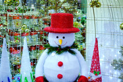 Happy Christmas snowman. With light Stock Photography