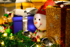 Happy Christmas Snowman. Merry christmas x`mas xmas snowman in a background of presents Stock Photo