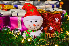 Happy Christmas Snowman. Merry christmas x`mas xmas snowman in a background of presents Stock Image