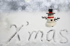Happy Christmas Snowman opening arms royalty free stock photography