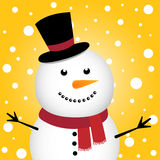 Happy Christmas snowman. And snowy background Stock Photos