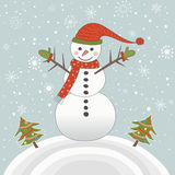 Happy christmas Snowman with trees Stock Photography