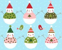 Happy Christmas Snowmen Vector Set Stock Image