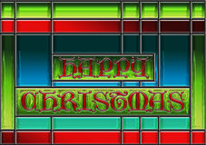 Happy Christmas stained glass window panel Stock Photo