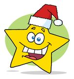 Happy christmas star cartoon character smiling Royalty Free Stock Photo