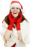 Happy Christmas surprised woman. On a white background Royalty Free Stock Photo