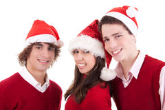 Happy christmas teens Stock Images