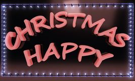 Happy Christmas text light frame, 3d render. Ing Stock Images