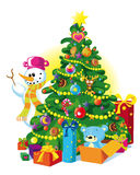 Happy christmas tree. Beautiful christmas tree with snowman, gift and teddy bear Royalty Free Stock Photography