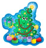 Happy Christmas tree on blue sky Royalty Free Stock Image