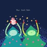 Happy Christmas Tree Cute Illustration Stock Photo