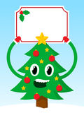Happy Christmas tree with a festive blank banner Stock Image