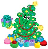 Happy Christmas tree with gifts royalty free stock photos