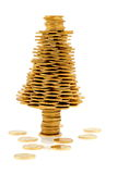 Happy Christmas Tree Made Of Gold Coins Stock Image
