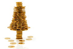 Happy Christmas Tree Made Of Gold Coins Stock Photo