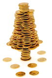 Happy Christmas Tree Made Of Gold Coins Royalty Free Stock Image