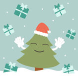 Happy christmas tree and the raining presents funny holidays illustration Stock Photography