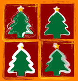 Happy christmas trees. Christmas Trees in a contemporary brushy childlike style Stock Images
