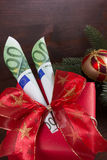Happy christmas with two hundred euros Stock Images