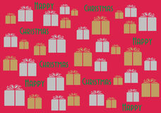Happy Christmas Wallpaper Background Giftwrap. Shiny presents wrapped in gold and silver form a random pattern on a bright red background; with Happy Christmas Stock Image