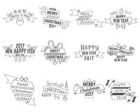 Happy Christmas wishes collection with ribbons and holiday symbols, elements Stock Photos