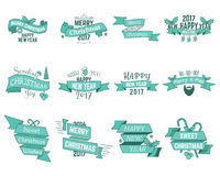 Happy Christmas wishes collection with ribbons and holiday symbols, elements - santa beard, sweets,  tree, toys. Vector isolated Royalty Free Stock Images