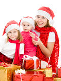 Happy Christmas woman with children Stock Photography
