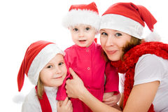 Happy Christmas woman with children Stock Photo