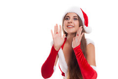 Happy Christmas woman excited say hello isolated on white backgr Royalty Free Stock Photo