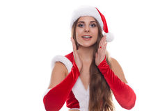 Happy Christmas woman excited say hello isolated on white backgr Stock Photos