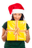 Happy Christmas woman with gift Stock Photography