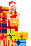 Happy Christmas woman with gift Stock Photo