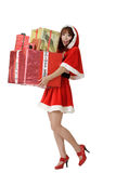 Happy Christmas woman with gifts Stock Photo