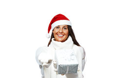 Happy christmas woman giving you a present Royalty Free Stock Photo