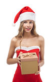 Happy Christmas woman holding gift Royalty Free Stock Photo