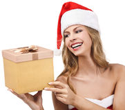 Happy Christmas woman holding gift Royalty Free Stock Photography