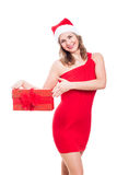 Happy Christmas woman with present Stock Photos