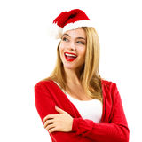 Happy Christmas Woman in Red Winter Clothes on White Royalty Free Stock Image