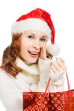 Happy christmas woman in santa hat Royalty Free Stock Photography