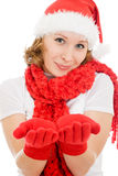 Happy Christmas woman showing palms Royalty Free Stock Photography