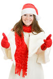 Happy Christmas woman shows ok. Ay on a white background Stock Image